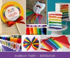 I LOVE the rainbow theme...what a creative and fun party! Even the birthday girl gets to wear a rainbow! #PampersPinParty