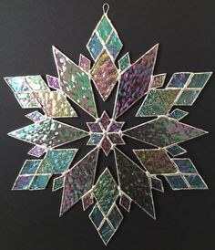 stained glass snowflake suncatcher design 21B