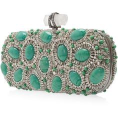 ON TREND -Seafoam Green  MARCHESA Crystal and Stone Clutch found on Polyvore