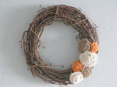grape vine wreath with burlap flowers