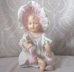 Gebruder Heubach Bisque Piano Baby in Bonnet