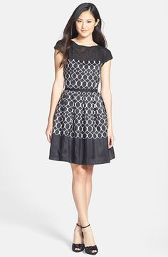 Taylor Dresses Illusion Cap Sleeve Fit & Flare Dress available at #Nordstrom