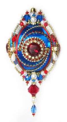 Dazzling Christmas Ornament  Ruby/Crystal/Pearl on by sparklements