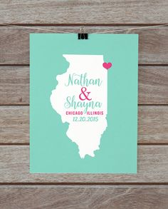 Chicago, Illinois Map, Personalized Wedding Gift, Housewarming, Newlyweds, His and Hers, Chi Town, Wedding Sign, Best Friends Wedding