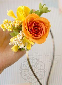 CLAY flowers - orange rose - Anaber style