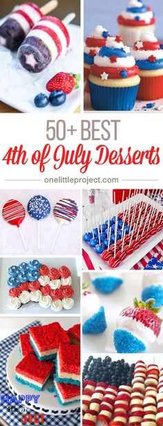 These 4th of July Desserts are SO CREATIVE! I never would have thought there were so many possibilities for red, white and blue treats, but there are, and they're all awesome!
