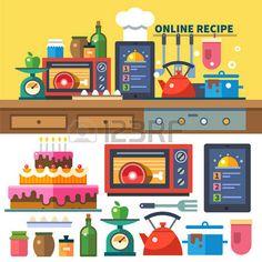 Buscar recetas en línea. Cocina y cocinar: platos de preparación de alimentos del horno especias estufa mermeladas escalas verduras frutas.