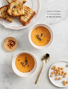 tomato chickpea & coconut soup (vegan option listed)