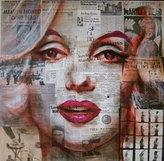 Kelly Ryan recycled newspaper art, my mixed media portrait inspiration, this just shows how effective layering is Mixed Media Photography, Creative Photography, Newspaper Art, Marilyn Monroe Art, Wow Art, High Art, Norma Jeane, Illustrations, Mixed Media Collage