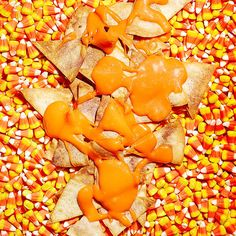 Candy Corn Queso with Chips