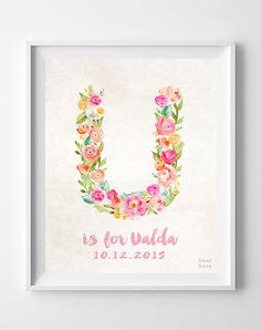 Personalized Prints, Personalized Poster, Baby Shower, Baby Gift, Nursery Decor, Decor Idea, Initial Art, Is for, Easter Decorations