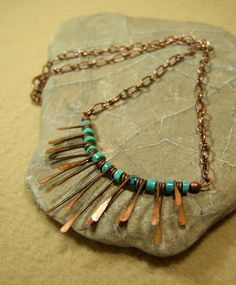Turquoise Necklace - Beaded Necklace - Bead Choker - Tribal Jewelry - Native Necklace - Copper Fringe Metalwork.