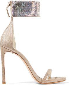 Stuart Weitzman - Cufflove Embellished Glittered Mesh Sandals - Gold