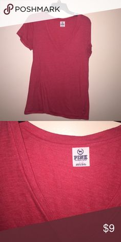 Solid Red Vneck Solid red Vneck from Victoria's Secret Pink very good condition! Size Large PINK Victoria's Secret Tops Tees - Short Sleeve