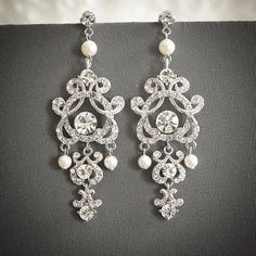 Vintage Style Wedding Earrings Swarovski Pearl by GlamorousBijoux, $82.00