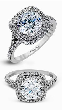 simon g gorgeous diamond engagement ring wedding band set mr2461 double halo white gold ring -- Simon G. Engagement Ring Styles for Every Bride