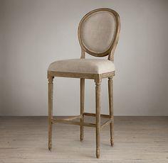 Vintage French Round Upholstered Barstool | Bar & Counter Stools | Restoration Hardware