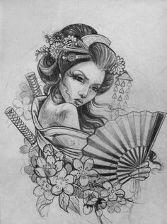 Risultato immagine per Japanese Geisha Tattoo Drawings Geisha Tattoos Sleeve, Geisha Tattoo For Men, Geisha Tattoo Design, Tattoo Design Drawings, Mandala Tattoo Design, Girl Drawings, Tattoo Girls, Tattoo Designs For Girls, Girl Tattoos