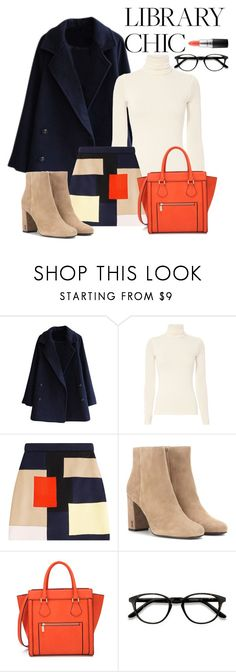 """Library Chic"" by mizzura ❤ liked on Polyvore featuring Twenty, MSGM, Yves Saint Laurent, EyeBuyDirect.com and MAC Cosmetics"