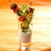 Miniduo de brochettes de poulet et légumes, marinade de yaourt épicée - une recette Exotique - Cuisine
