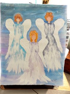 Company of Angels  (Watercolor) Heavy Duty Paper not canvas,,,ready to frame 16X20    $30           (pls shp)