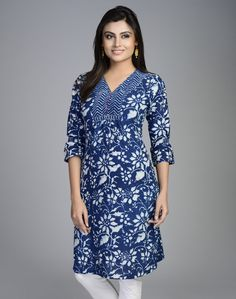 Cotton Printed Lattice V Neck Mini Kurta