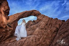 Bride in the Valley of Fire, desert 30 mins outside of Vegas