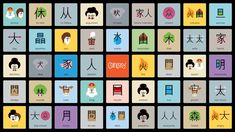 Entrepreneur ShaoLan Hsueh and graphic designer Noma Bar have created a system of illustrated characters and animations to help people learn to read Chinese Chinese Words, Japanese Words, Chinese Art, Basic Chinese, Japanese Kanji, Chinese Symbols, Noma Bar, Chinese Language, Japanese Language