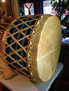 """32"""" moose drum we built for Sitting Bear Singers...we recorded their debut album...coming out spring 2013!!"""