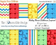 Mickey Mouse Clubhouse Inspired digital paper pack for scrapbooking, Making Cards, Tags and Invitati Mickey Printables, Disney Scrapbook, Scrapbooking, Mickey Birthday, Mickey Mouse Clubhouse, Printable Paper, Shop Signs, Card Making, Paper Crafts