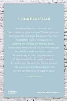 A Limb has Fallen, a Collection of Non-Religious Funeral Poems curated by Memory Press - creators of beautiful, uplifting, and memorable Funeral Programs Miss Mom, Miss You Dad, Quotes To Live By, Life Quotes, Son Quotes, Baby Quotes, Daughter Quotes, Family Quotes, Sister Quotes