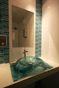 """Fused glass sink -"