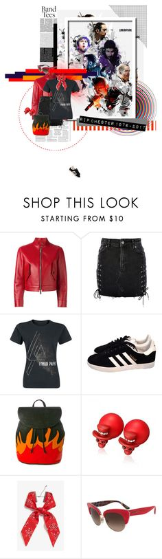 """""""#RIPChesterBennington"""" by nosleeptilbrooklyn ❤ liked on Polyvore featuring Dsquared2, Topshop, adidas, American Vintage, Monki, Dolce&Gabbana, contestentry and bandtees"""