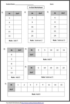 In-Out Boxes Worksheets: Include addition, subtraction, multiplication and division of whole numbers, integers and decimals.: