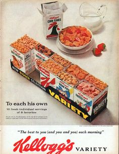 "1961 KELLOGG'S CEREAL vintage magazine advertisement ""To each his own"" ~ To each his own ... 10 fresh individual servings of 8 favorites ... ""The best to you (and you and you) each morning"" ... Kellogg's Variety ~"