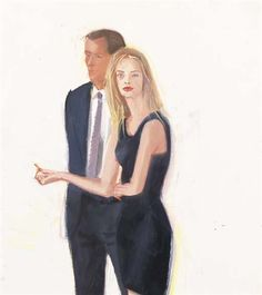Artwork by Alex Katz, Study for Peter and Lauren, Made of oil on masonite