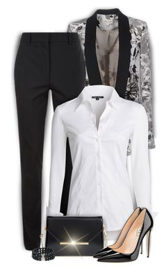 """""""Black, White and Gray"""" by kiki-bi ❤ liked on Polyvore featuring KOCCA, Victoria Beckham, NIC+ZOE, Ted Baker, blackandwhite, victoriabeckham, patentleather and floraljacket"""