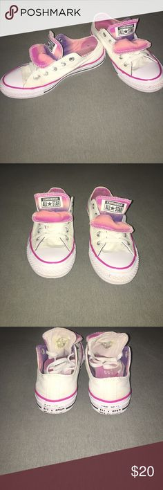 Converse All Star White With Pink Lining and Pink and Purple On the Inside of Shoe Women's Size 6 Converse Shoes Sneakers