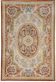 """Savonnerie Rug, Size 13'5"""" x 20' 3"""", handmade in France. At Mansour."""