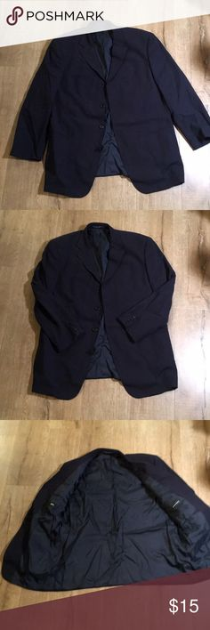 "Hugo Boss 46R Blazer 😊😊😊 Very cool blazer.  50"" underarm to underarm.  31"" collar to hem.  24"" Shoulder to wrist.   Note cigarette ash holes in one arm.  Flawed but still very cool and wearable very dark blue Hugo Boss Suits & Blazers Sport Coats & Blazers"