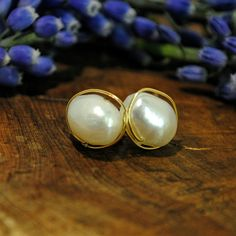 """Pearls are always appropriate"" - Jackie Kennedy.  Gold wrapped, baroque pearl, stud earrings by B EN T Art & Accessories www.BENTartaccessories.etsy.com"