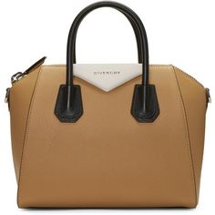 Givenchy Tricolor Small Antigona Bag (£1,965) ❤ liked on Polyvore featuring bags, handbags, tricolor, structured leather handbags, brown purse, leather purses, givenchy handbags and brown handbags