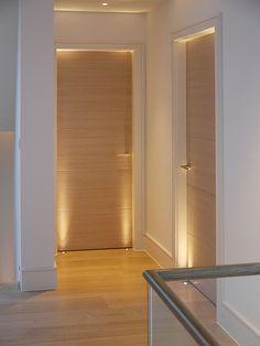 Bedroom Doors with uplights - Portes - Door Design House Ceiling Design, House Design, Modern Interior, Home Interior Design, Interior Ideas, Interior Shop, Oak Interior Doors, Modern Hallway, Rustic Bedroom Design