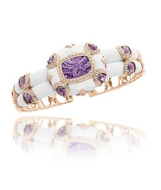 Anastasia Collection Cuff Bracelet/ From the Anastasia collection, this rose gold cuff bracelet is set with two rows of smooth white onyx and features light amethyst at the center and as accents, framed with diamonds. Bangle Bracelets, Bracelet Watch, Bangles, Anastasia, Amethyst Bracelet, Fantasy Jewelry, Diamond Are A Girls Best Friend, Jewelry Trends, Jewelry Ideas