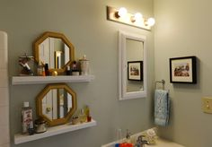 9 tips for stylish decorating on a budget. Ikea's RIBBA photo shelves used upside down for tiny things.