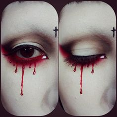 "998 Likes, 27 Comments - Bianca (@drac_makens) on Instagram: ""Close up of my eye makeup #gothmakeup #bloodtears"""