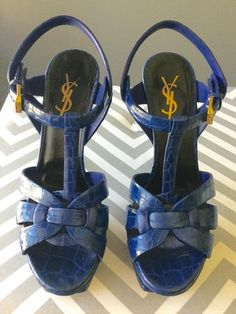YVES SAINT LAURENT YSL TRIBUTE BLUE CROC-EMBOSSED LEATHER PLATFORM SANDALS