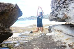 So I'm no good at yoga poses but this jump pic was the best I could do  #tamaramabeach #bonditobronte #bondi #beach #jumpforyolife #adidas #nike #nature #rocks by jaclyn_debrina http://ift.tt/1KBxVYg