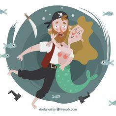 Fundo, agradável, pirata, abraçar, sereia Vetor grátis