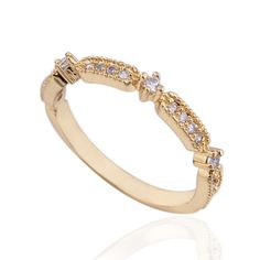 Stylish Design 18K Gold Plated Copper Finger Ring Inlay Zircon High Quality Rings Three Sizes